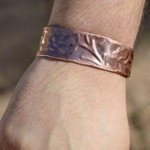 Mens Copper Embossed Cuff Bracelet Floral Cowboy